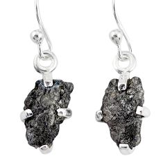 3.77cts natural diamond rough 925 silver handmade dangle earrings r79167