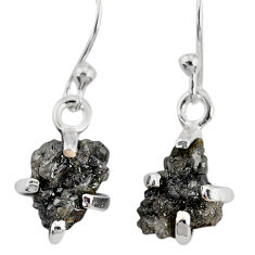 3.83cts natural diamond rough 925 silver handmade dangle earrings r79169