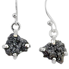 3.81cts natural diamond rough 925 silver handmade dangle earrings r79170