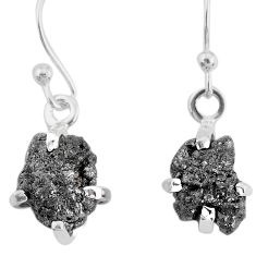 3.83cts natural diamond rough 925 silver handmade dangle earrings r79172