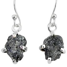 4.14cts natural diamond rough 925 silver handmade dangle earrings r79174