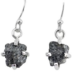 3.83cts natural diamond rough 925 silver handmade dangle earrings r79175