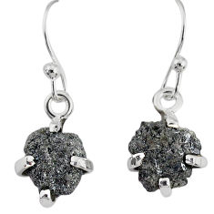 3.81cts natural diamond rough 925 silver handmade dangle earrings r79179