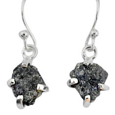3.83cts natural diamond rough 925 silver handmade dangle earrings r79181