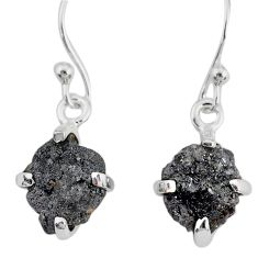 4.63cts natural diamond rough 925 silver handmade dangle earrings r79182