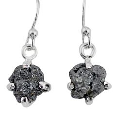 3.83cts natural diamond rough 925 silver handmade dangle earrings r79183