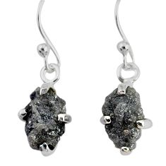 4.22cts natural diamond rough 925 silver handmade dangle earrings r79185
