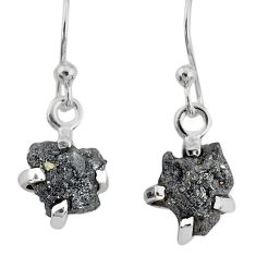 3.83cts natural diamond rough 925 silver handmade dangle earrings r79186
