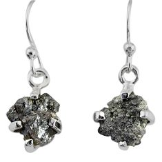 4.16cts natural diamond rough 925 silver handmade dangle earrings r79187
