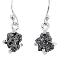 3.83cts natural diamond rough 925 silver handmade dangle earrings r79189