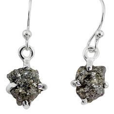 3.73cts natural diamond rough 925 silver handmade dangle earrings r79190