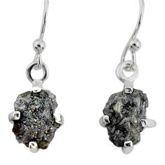 3.65cts natural diamond rough 925 silver handmade dangle earrings r79191