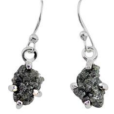 3.63cts natural diamond rough 925 silver handmade dangle earrings r79193