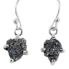 3.55cts natural diamond rough 925 silver handmade dangle earrings r79194