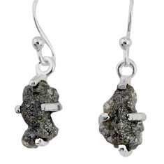 3.53cts natural diamond rough 925 silver handmade dangle earrings r79196
