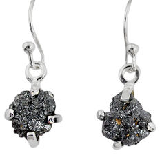 3.77cts natural diamond rough 925 silver handmade dangle earrings r79197