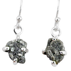 3.73cts natural diamond rough 925 silver handmade dangle earrings r79200