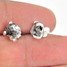 4.16cts natural diamond rough 925 sterling silver handmade stud earrings r79063