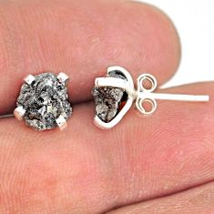 3.42cts natural diamond rough 925 sterling silver handmade stud earrings r79072