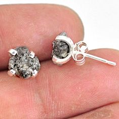 3.91cts natural diamond rough 925 sterling silver handmade stud earrings r79076
