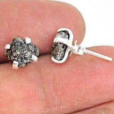 3.91cts natural diamond rough 925 sterling silver handmade stud earrings r79077