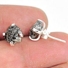 3.84cts natural diamond rough 925 sterling silver handmade stud earrings r79079