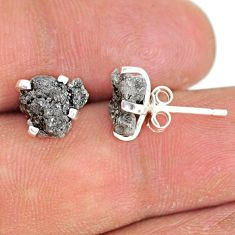 3.86cts natural diamond rough 925 sterling silver handmade stud earrings r79081