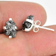 3.73cts natural diamond rough 925 sterling silver handmade stud earrings r79082