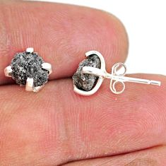 3.55cts natural diamond rough 925 sterling silver handmade stud earrings r79083