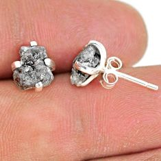 4.22cts natural diamond rough 925 sterling silver handmade stud earrings r79085