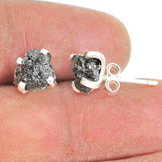 4.22cts natural diamond rough 925 sterling silver handmade stud earrings r79086
