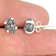 3.93cts natural diamond rough 925 sterling silver handmade stud earrings r79088