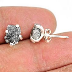 4.39cts natural diamond rough 925 sterling silver handmade stud earrings r79089
