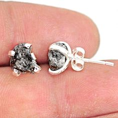 3.86cts natural diamond rough 925 sterling silver handmade stud earrings r79091