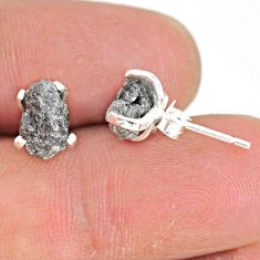 3.82cts natural diamond rough 925 sterling silver handmade stud earrings r79095