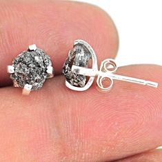 3.80cts natural diamond rough 925 sterling silver handmade stud earrings r79097