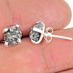 3.67cts natural diamond rough 925 sterling silver handmade stud earrings r79100