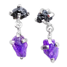 9.96cts natural diamond rough amethyst raw 925 silver dangle earrings t25720