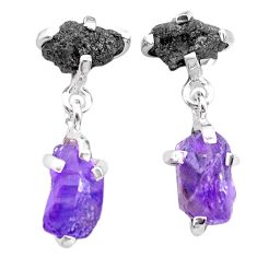 9.96cts natural diamond rough amethyst raw 925 silver dangle earrings t25754
