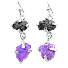 8.48cts natural diamond rough amethyst raw 925 silver dangle earrings t25783