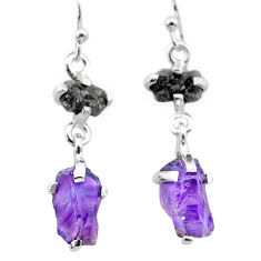 8.69cts natural diamond rough amethyst raw 925 silver dangle earrings t26767