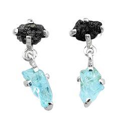 9.00cts natural diamond rough aquamarine raw 925 silver dangle earrings t25735