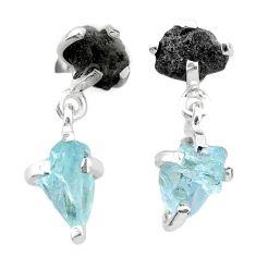 9.05cts natural diamond rough aquamarine raw 925 silver dangle earrings t25774