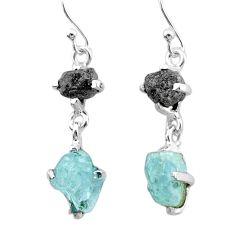 9.41cts natural diamond rough aquamarine raw 925 silver dangle earrings t25800