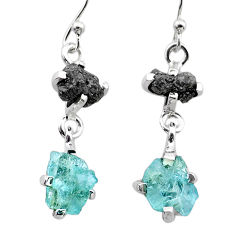 7.27cts natural diamond rough aquamarine raw 925 silver dangle earrings t26774
