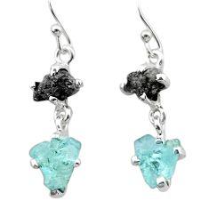 7.23cts natural diamond rough aquamarine raw 925 silver earrings t26797