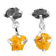 11.02cts natural diamond rough citrine raw 925 silver dangle earrings t25738