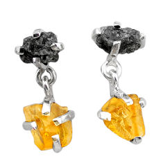 10.11cts natural diamond rough citrine raw 925 silver dangle earrings t25741