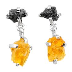 11.08cts natural diamond rough citrine raw 925 silver dangle earrings t25779