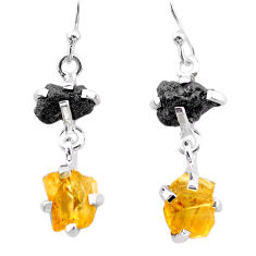 9.41cts natural diamond rough citrine raw 925 silver dangle earrings t25785
